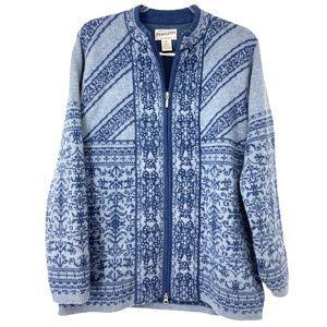 Pendleton Blue Soft Lambs Wool Zipper Cardigan